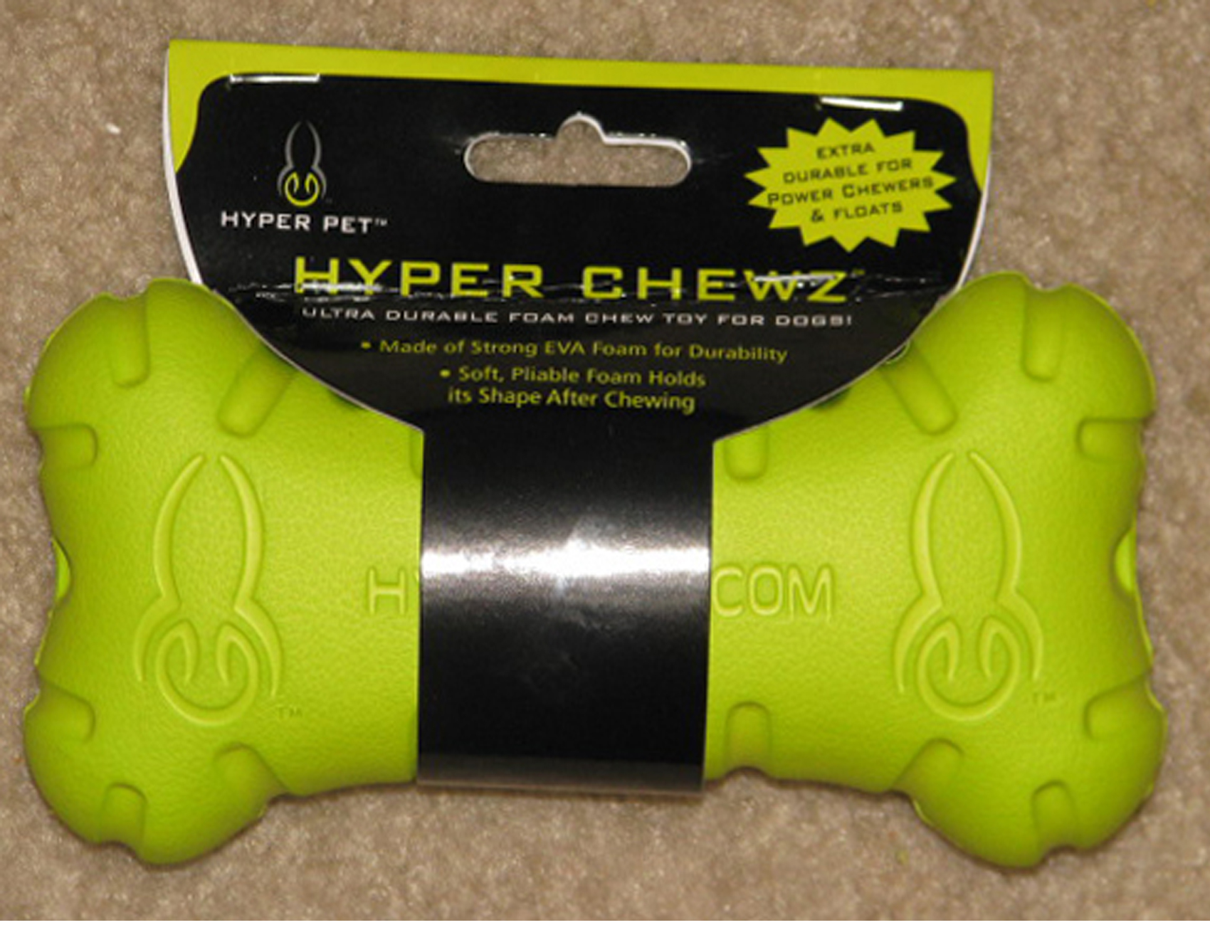 Neon green Hyper Chewz Dog Bone